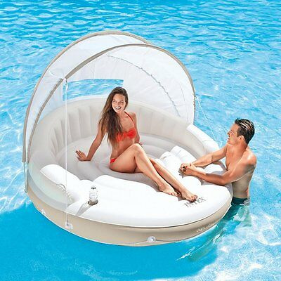 Inflatable Floating Lounger Raft Mattress Sun Shade Canopy Pool Beach Bed Relax