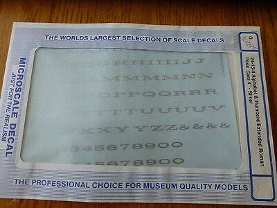 """Microscale Decal #30034 Alphabet & Numbers Extended Roman Pass Car 4"""" Silver"""