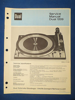 Dual 1209 Turntable Service Manual Original Factory Issue