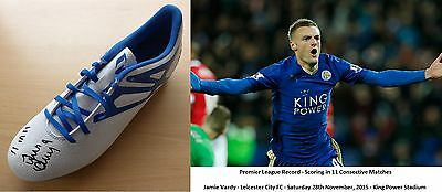 2015-16 Jamie Vardy Signed 11 in 11 Leicester City Boot - Unique Item - (8078)