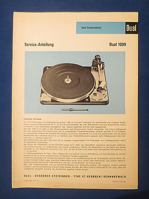 Dual 1009 Turntable Service Manual Original Factory Issue German Only