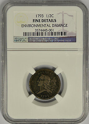 1793 Half Cent Flowing Hair, NGC Fine Details. Very Rare