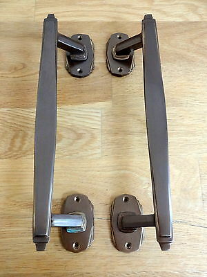 1st PAIR OF BRONZE FINISH ART DECO DOOR PULL HANDLES KNOBS PLATES FINGER PUSH