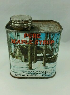 VERMONT PURE MAPLE SYRUP 8 OZ. EMPTY Tin CAN 1984