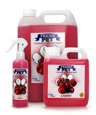 FRESH PET Pack Kennel/Cattery Disinfectant, CHERRY 250ml Spray, 1L Spray Plus 5L