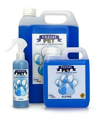 FRESH PET Pack Kennel/Cattery Disinfectant, ALPINE 250ml Spray, 1L Spray Plus 5L