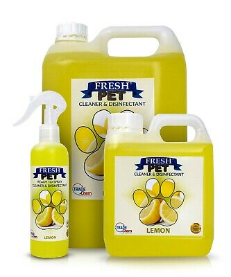 FRESH PET Pack Kennel/Cattery Disinfectant, LEMON 250ml Spray, 1L Spray Plus 5L