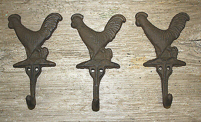 3 Cast Iron ROOSTER Towel Hanger Coat  Hat Hooks, Key Rack  HEN Hook CHICKEN