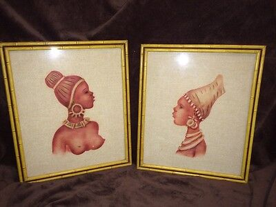 Vintage Pair Of African Women Figural Art Bamboo Framed Stamped Textile Prints