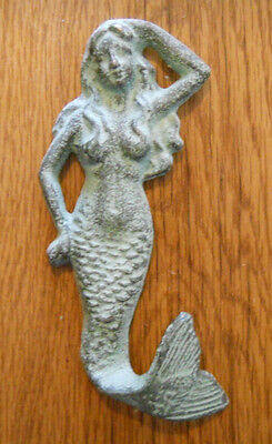 Cast Iron MERMAID Towel Hooks Hat Rack Nautical Swimming Pool Hook GREEN