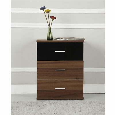 3 Drawer Bedside Table Cabinet Wooden Chest Storage Bedroom Furniture High Gloss