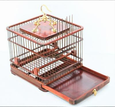 Exquisite Chinese Rose Wood Hand Carfts Bird cage