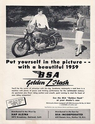 1959 BSA Motorcycle Ad: Picture Yourself with a Beautiful 1959 BSA Golden Flash
