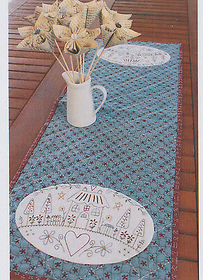 PATTERN - My Country Home - stitchery table runner PATTERN - Gail Pan