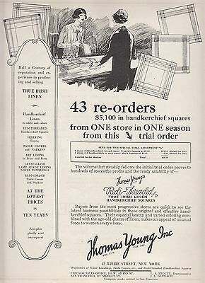 1926 Thomas Young Inc New York NY Ad Redi-Threaded True Irish Linen Handkerchief
