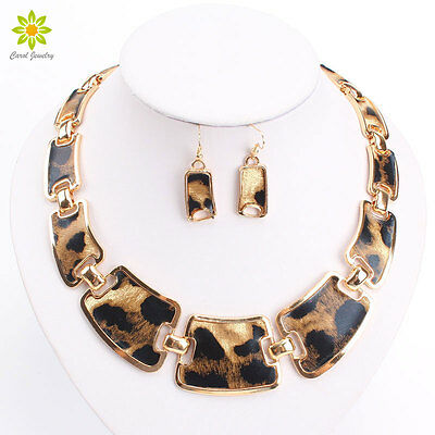 African Jewelry Sets Enamel Gold Plated Fashion Necklace Earrings For Women