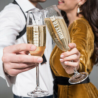 Personalised Engraved BOLD Series Engagement Wedding Gift Champagne Flute Glass