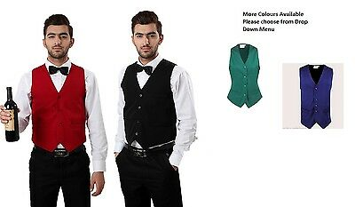 Good Quality Budget Waistcoat Waiters Bar Staff In All Colour Fancy Dress Party