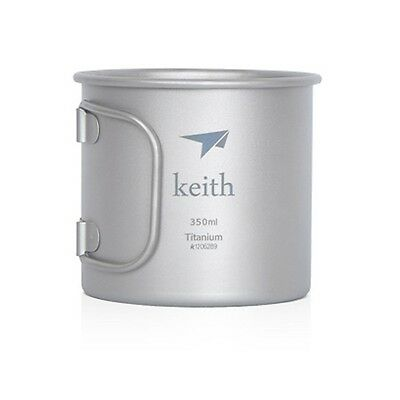 Keith Ultralight Titanium Cup Water Cup Folding Handle Mug Only 56g 350ml KS811