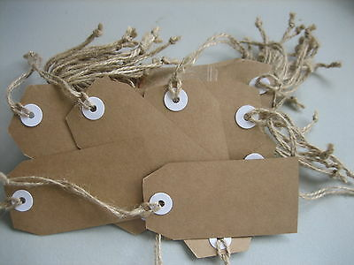 Swing Tags Retro Large Brown Packs  STRING ALREADY ATTACHED Packof 100