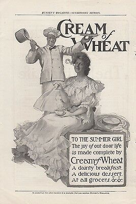 1904 Cream of Wheat Ad: Rastus and Young Summer Girl Joy of Outdoor Life