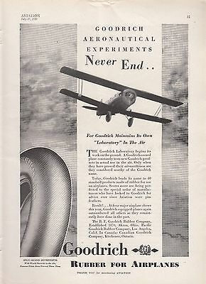 1929 B F Goodrich Rubber Co Akron OH Ad: Goodrich Plane Laboratory in the Air