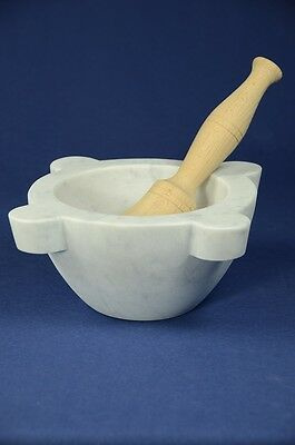 "Mortaio marmo Carrara ""Genovese"" 22 cm pestello legno.Marble mortar wood pestle"