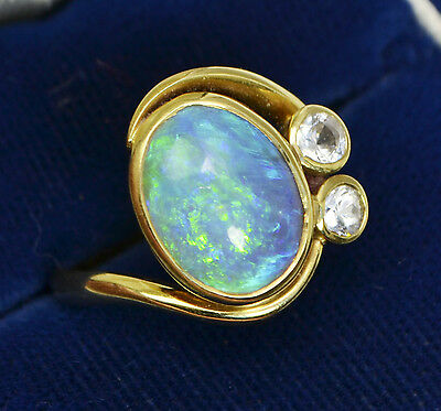 Vintage 18ct Yellow Gold Unusual JELLY OPAL & White Stone Crossover RING - Sz K