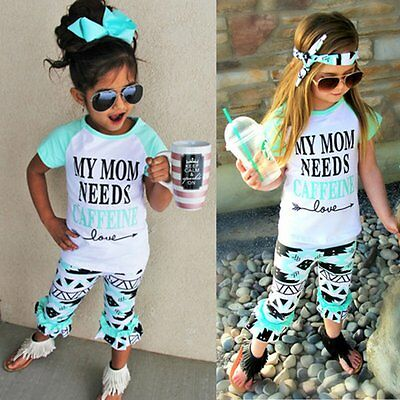 2PCS Toddler Kids Baby Girls Clothes Letter T-shirt Tops +Long Pants Outfits Set