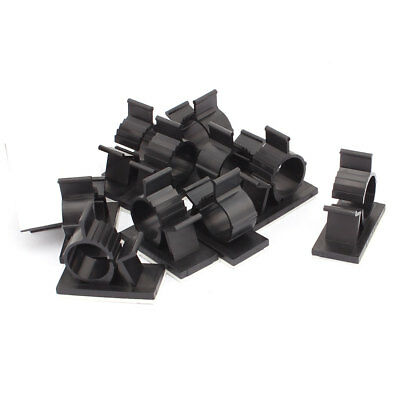 12 Pcs Self-adhesive Cord Cable Tie Clamp Sticker Clip Holder Black 15.4mm