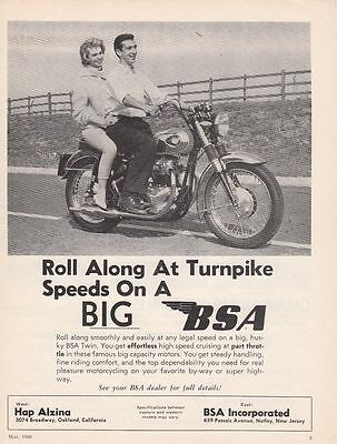 1960 BSA Motorcycle Ad: Roll Along at Turnpike Speeds on a Big BSA Twin