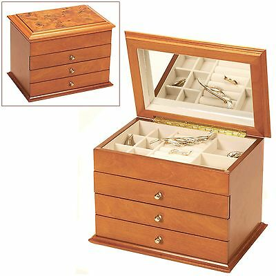 Oak Wood Finish Wooden Jewellery Box With Oriental Rose Design Jewelry Chest