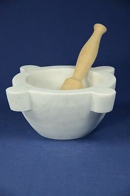 "Mortaio marmo Carrara ""Genovese"" 24 cm pestello legno.Marble mortar wood pestle"