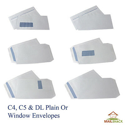 WHITE ENVELOPES C4 C5 DL 80 90 100gsm All Self Seal Plain OR Window HIGH QUALITY