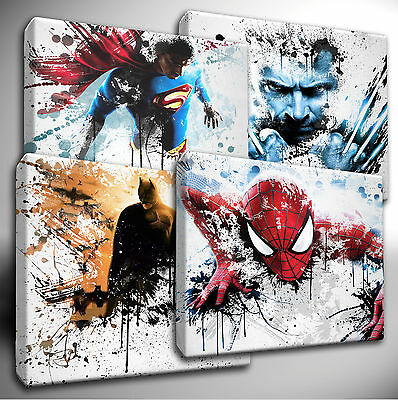 Choose your Marvel / DC Characters paint splatter CANVAS Wall Art Picture