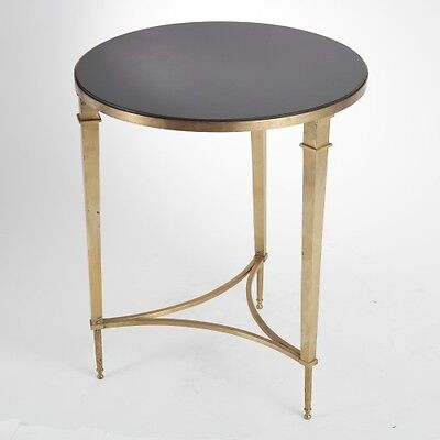 "21"" Round Side Accent Table Modern Design Solid Brass Black Granite Top"