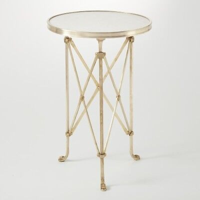 "17"" Round Side Table Modern Artisan Base Solid Brass & White Marble Top"