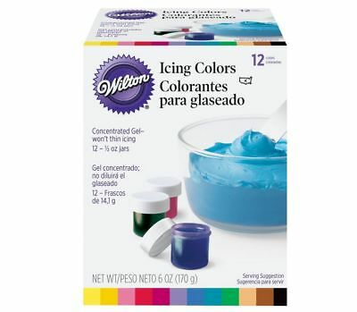 Wilton Set of 12 Concentrated Gel Icing Colors, ½ oz Jars
