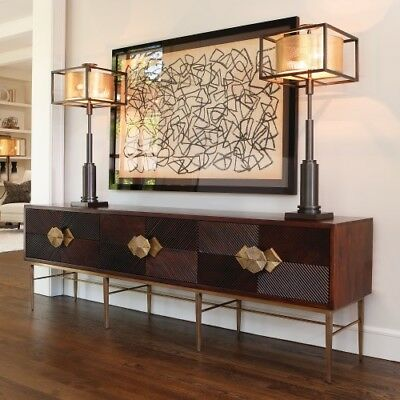 "87"" Long Media Cabinet Sideboard Hand Carved Dark Solid Wood Brass Hardware"