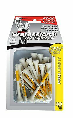 """Pride Professional Tee System Plastic Golf Tees - 2 3/4"""" White/Yellow, 30-Count"""