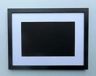 Deep Black Woodgrain Finish Photo/Picture Frame with Mount - Wall Hanging