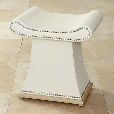 """21"""" Tall Bench Modern Design Ivory Cowhide Leather Solid Wood Frame Dacron Foam"""