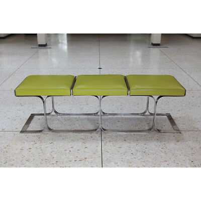 """63"""" Lng Bench Modern Stainless Steel Frame Dacron Foam Wrapped in Green Leather"""