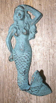 3 Cast Iron NAUTICAL FLIPTAIL MERMAID Towel or Pool Hook Bronze green