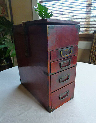 Antique Japanese  Barber Box,  Chest, Tansu, Bindarai