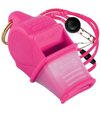 Fox 40 Sonik Blast CMG 2-Chamber Pealess Whistle with Lanyard, Pink