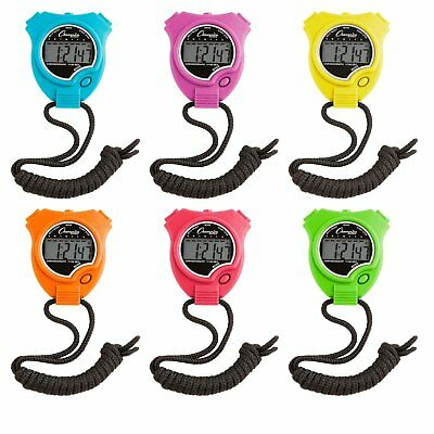 Champion Sports Digital Water Resistant Stopwatch Assorted Neon Colors, Set Of 6