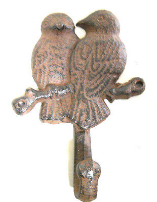 Cast Iron GARDEN BLUE BIRDS Coat Hooks Hook Rack Towel DOVES BIRD 1 HOOK