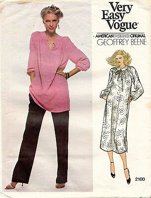 VTG VOGUE Misses' Dress or Tunic&Pants Geoffrey Beene Pattern 2100 Size 10 UNCUT