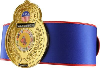 Old School Championship Title Belt Boxing MMA Kickboxing Muay Thai Award - Blue